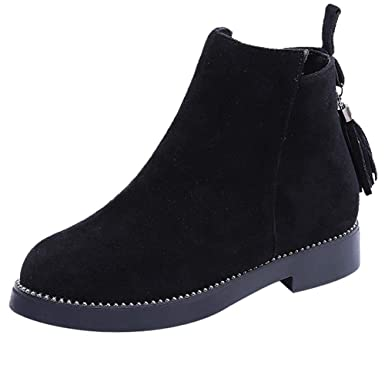 14771523d15 ASERTYL Women Winter Boots Round Toe Shoes Tassel Booties Zipper Suede Solid  Color Shoes Boots