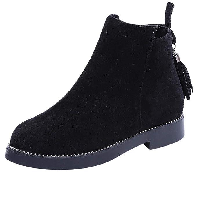 4a2f60a46e472 Amazon.com: Vintage Women Booties Round Toe Shoes Tassel Zipper ...