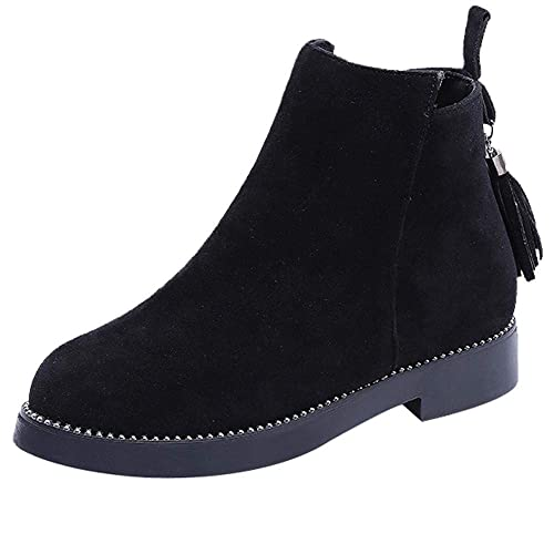 3a7e124196bf1 Amazon.com | Sunmoot Suede Flat Ankle Boots Women Round Toe Tassel ...