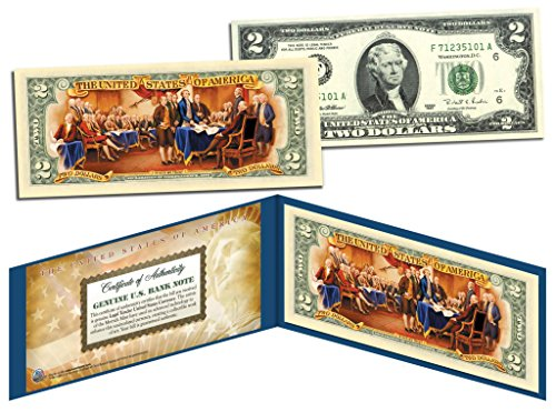 TWO DOLLAR $2 U.S. Bill Genuine Legal Tender Currency COLORIZED * REVERSE * - Tender Legal Currency