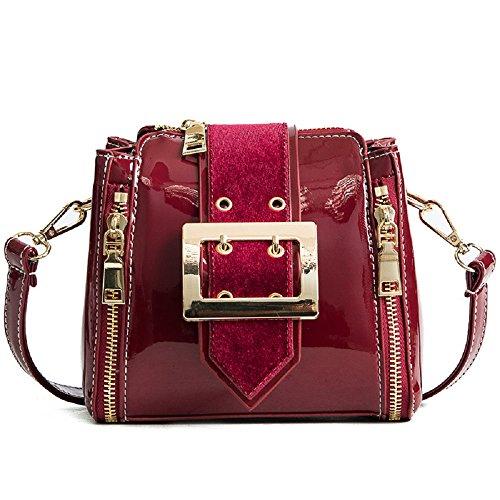en Sauvage coréenne Diagonale ZHRUI Sac Verni Femme Petit Mode carré Sac de la Rouge Sauvage Nouvelle Version Cuir PEEwqvYH