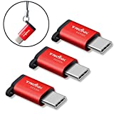 TriLink USB C to Micro USB Adapter [Anti-lost Keychain] 3 Pack Type C Convert for Samsung Galaxy S8 Plus, Moto Z Force Play, LG G5 G6 V20, Nexus 5X 6P, OnePlus 2 3 3T, Google Pixel XL and More(Red)