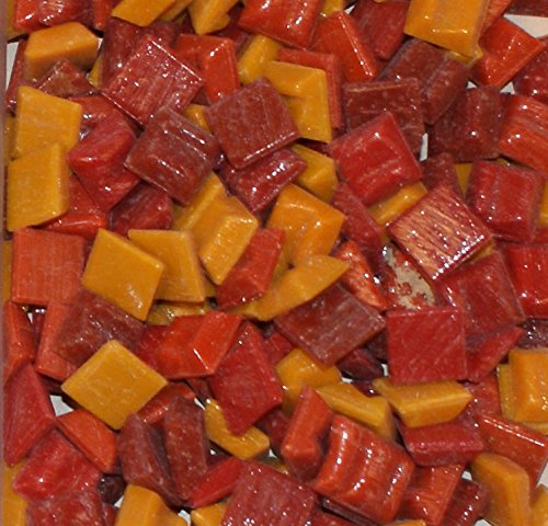 "Hakatai Glass Mosaic Tile 3/8"" - ½ Pound Red-Orange-Yellow Assortment"