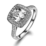 Lourve 14k White Gold Plated 925 Sterling Silver Engagement Ring Cushion Cut CZ Simulated Diamond Cushion Soleste