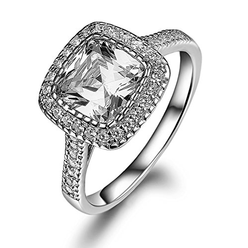 d Plated 925 Sterling Silver Engagement Ring Cushion Cut CZ Simulated Diamond Cushion Soleste (6, cubic-zirconia) (14k Simulated Diamond Engagement Ring)