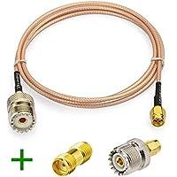 Superbat RF Coax SMA Male to UHF Female SO-239 Adapter Cable + 2pcs SMA Adapter SMA UHF Female SO239 Adapter for Baofeng CB Radio Handheld Radio Antenna Walkie Talkie