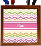 Rikki Knight Faith Pink Chevron Name Design 5-Inch Wooden Tile Pen Holder (RK-PH6817)