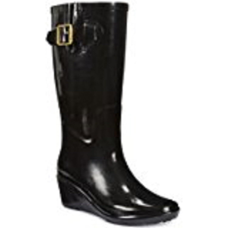 Giani Bernini Womens Alley Wedge Rain Boots Black 10 M