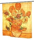 "Carnation Home Fashions Sunflowers Fabric Shower Curtain, 72""Lx70""W"