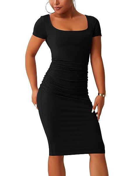 ba20f2f55a6 BORIFLORS Women's Casual Basic Ruched Bodycon Dresses Short Sleeve Sexy  Club Midi Dress,Small,