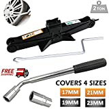 Extendable Wheel Brace Lug Nut Wrench Telescopic 17/19mm 21/23mm 4 Socket Sizes & Scissor Jack 2 Ton with Speed Handle Set Kit for Emergency Tire Changing