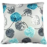 Cushion Case Pillow Cover Square 20x20 Inch Cotton Polyester Blue Grey Leaves