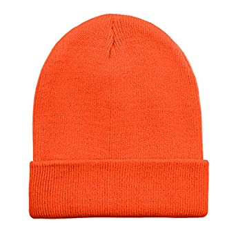 3019779efbaca4 Opromo High Visibility Neon Color Cuffed Long Beanie Reflective Knit Winter  Hat: Amazon.co.uk: Clothing