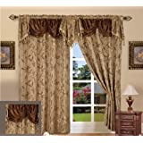 """Elegant Comfort Jacquard Curtain Panel Set with Attached Valance 55"""" X 84 """" (Set Of 2), Brown"""