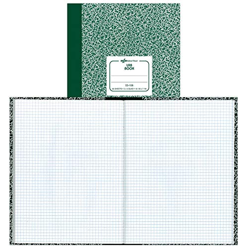 National Brand Lab Book, 5 x 5 Quad, Green Marble, 10.125 x 7.875 Inches, 60 Sheets (53108)