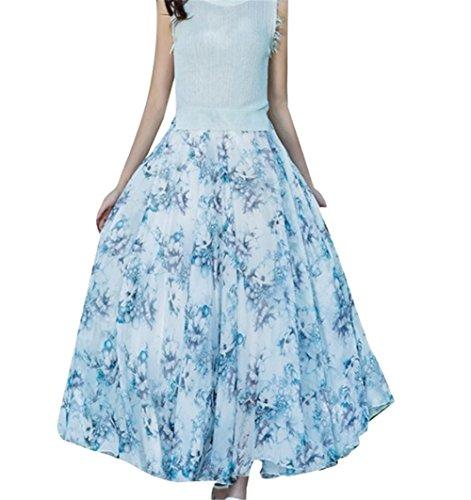 Demi pour en Femmes t Imprime YUCH Haute Taille Soie Jupe Jupe De Mousseline Bi B4xqHg5