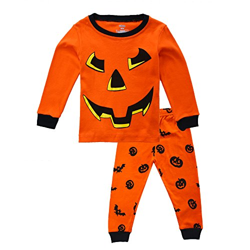 KISBINI Little Boys Pajama Pj Set Pjs Jammies for Halloween Xmas Bat Pumpkin 6T