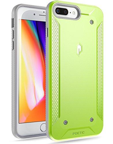 iPhone 7 Plus/iPhone 8 Plus Case, Poetic Quarterback [Corner/Bumper Protection][No Bulk][Dual Protection]- Stylish PC+TPU Protective Case for Apple iPhone 7 Plus/iPhone 8 Plus Green/Gray