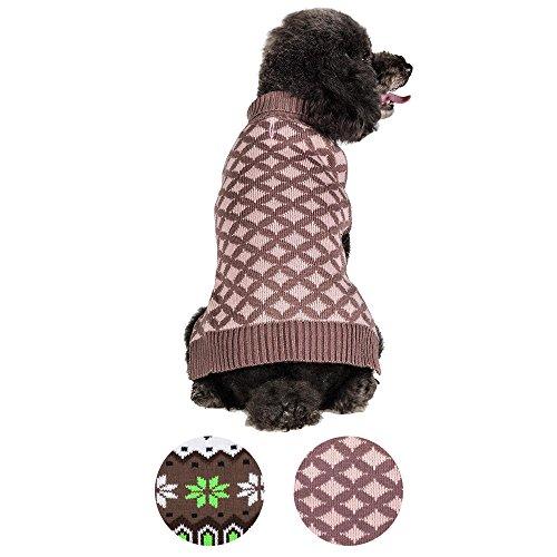 [Blueberry Pet 2 Patterns Round Argyle Designer Dog Sweater, Back Length 14