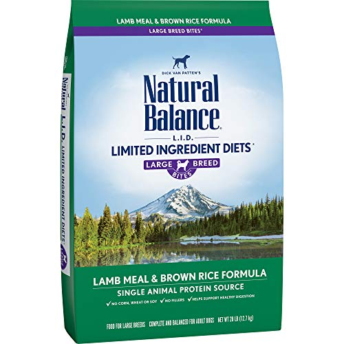 Natural Balance Dry Dog Food Limited Ingredient Diet for Large Breeds, Lamb Meal and Rice, 28 Pound - Original Rabbit Food