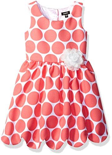 ZUNIE Little Girls' Polka Dot Pique Scalloped Hem Dress, Coral, 4 (Coral Dot Polka)