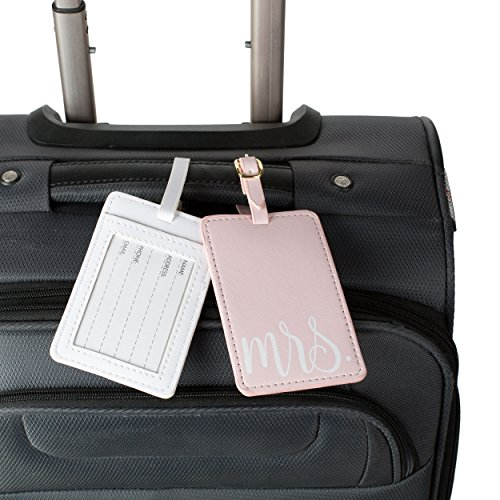 Travel Mr and Mrs Luggage Tags: Cute, Unique Pink and White, Flexible and Sturdy Leather Suitcase Bag Identifiers for Men and Women - Baggage Tag Identification Set of 2 for Cruise or Airplane Travel by Tri-coastal Design (Image #3)