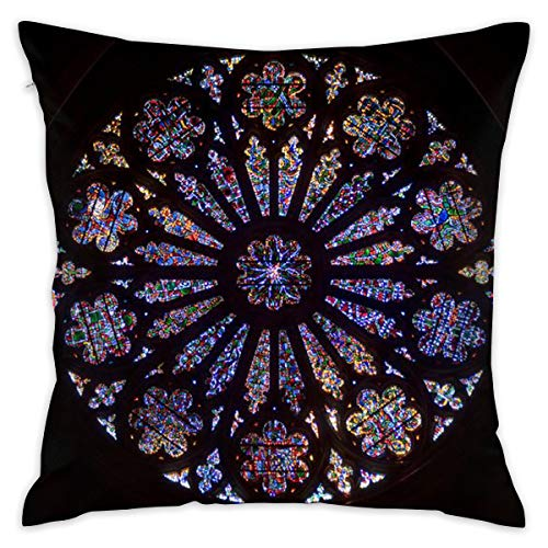Washington National Cathedral Stained Glass Pillowslip Unique Throw Pillow Cover Creative Cushions Case Covers with Zipper Home Decorative Print Pillowcase for Sofa Couch, 18