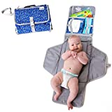 Baby Portable Changing Mat | Lightweight Travel Diaper Station Kit with Waterproof and Cushioned Pad | Foldable Pad with...