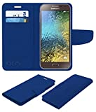 Acm Mobile Leather Flip Flap Wallet Case for Samsung Galaxy E5 Mobile Cover Blue