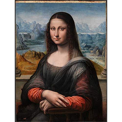 CAPTIVATE HEART Lienzo de impresion 60x90cm sin Marco Retro Mona Lisa Pintura al oleo Da Vinci Famosa Pintura Cuadro de Arte de Pared para decoracion del hogar