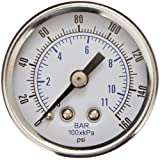 "PIC Gauge 102D-158F Dry Filled Utility Center Back Mount Pressure Gauge with Black Steel Case, Chrome Bezel, Plastic Lens, 1-1/2"" Dial Size, 1/8"" Male NPT Connection Size, 0/160 psi Range"