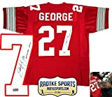 "Eddie George Autographed/Signed Ohio State Buckeyes Custom Home Jersey with ""Heisman 1995"" Inscription"
