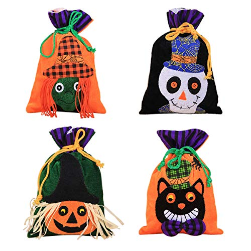 DegGod 4 Pcs Halloween Trick or Treat Bags, Cute Candy Favor Drawstring Bags Halloween Goody Tote Bags for Kids Girls Boys Halloween Party Favors Gifts Snacks Decor