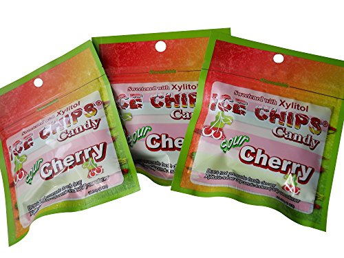 New! Ice Chips Candy in Resealable Packets, Sour Cherry - 3 ()