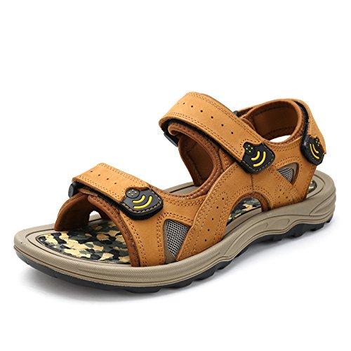 Gli Uomini Sono Dei Sandali, In Vera Pelle Le Scarpe, Scarpe Di Cuoio, Calzature Da Spiaggia,Giallo,Eu42