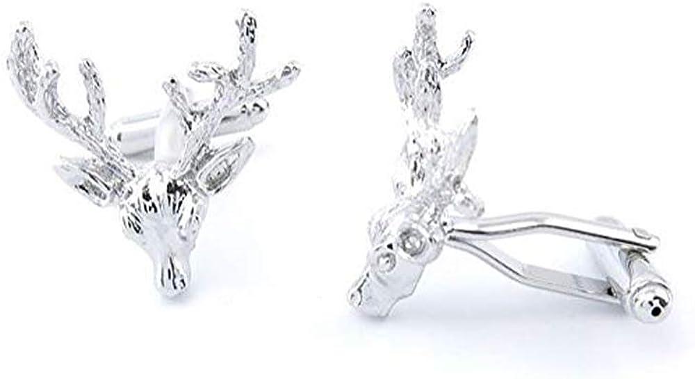 Deer Cufflinks for Men Stainless Steel Men's Cufflinks Jewelry Stage Luxury French Tuxedo Shirt Cufflinks Bussiness Gift for Men