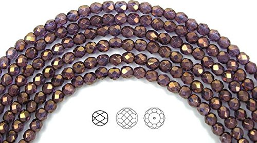 4mm (102 beads) Crystal Bronze Luster (Partially Transparent), Czech Fire Polished Round Faceted Glass Beads, 16 inch ()