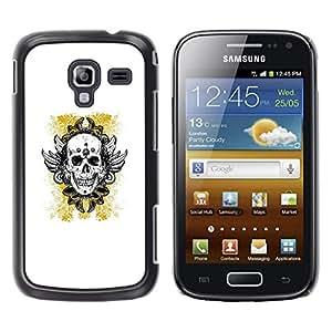 MobileHut / Samsung Galaxy Ace 2 I8160 Ace II X S7560M / Yellow Gold Biker Ink Tattoo Skull / Delgado Negro Plástico caso cubierta Shell Armor Funda Case Cover