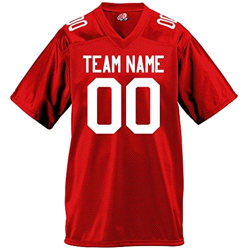 Gameday Mens Fan Wear Custom Football Jersey Adult X-Large in Scarlet Red ()