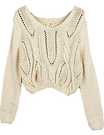 PrettyGuide Women's Long Sleeve Eyelet Cable Lace Up Crop Top Beige S