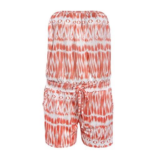 QHGstore Frauen-trägerloser weg vom Schulter-Druck-Bodysuit-Spielanzug-Sommer-Kurzschluss-Overall-Spielanzug Orange J7N4A