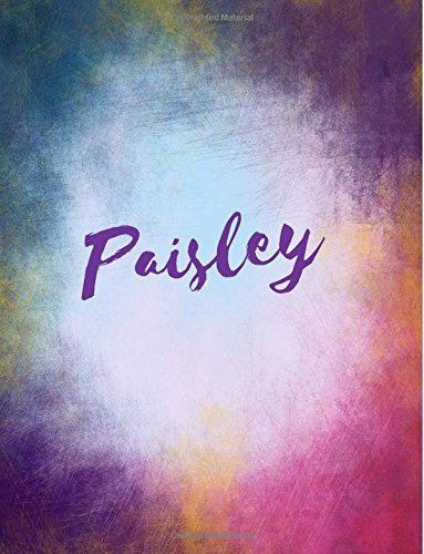 Download Paisley: Paisley personalized sketchbook/ journal/ blank book. Large 8.5 x 11 Attractive bright watercolor wash purple pink orange & blue tones. arty stylish lettering. pdf epub