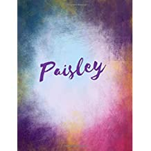 Paisley: Paisley personalized sketchbook/ journal/ blank book. Large 8.5 x 11 Attractive bright watercolor wash purple pink orange & blue tones. arty stylish lettering.