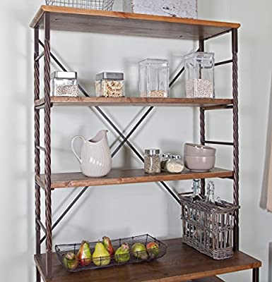 ModHaus Living Industrial Rustic 6 Tier Metal with Adjustable Wood Shelves Bakers Rack for Kitchens - Includes Pen