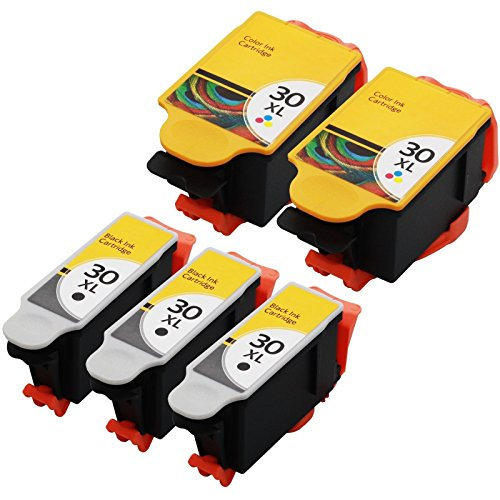 5-pack-30-xl-30xl-black-color-ink-cartridges-combo-for-kodak-esp-c315-printer