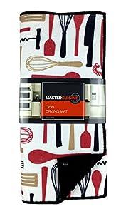 Master Cuisine Dish Drying Mat, Reversible, Kitchen Cooking Utensils, Black