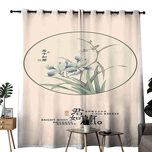 - duommhome Light Luxury high-end Curtains Happy Easter Cards Illustration with Easter Egg and Flower Ornament. Noise Reducing W120 x L96