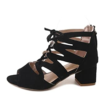 12b8aa24583 2018 JJLOVE Women Comfort Simple Open Toe Caged Ankle Strap Block Mid High Block  Heel Strappy