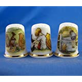 Porcelain China Collectible Thimble Free Box National Trust 125th Anniversary