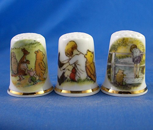 Porcelain China Collectable Thimbles - Set of Three Winnie the Pooh by Birchcroft